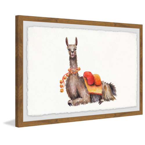 Marmont Hill Orange Pack Llama 12 x 18 In. Framed Painting Print
