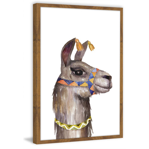 Marmont Hill Llama Party 24 x 16 In. Framed Painting Print