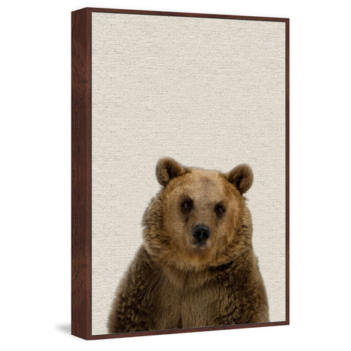 Marmont Hill Furry Bear Floater 45 x 30 In. Framed Painting Print on Canvas