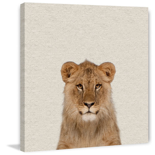 Marmont Hill Smiling Lion 32 x 32 In. Painting Print on Wrapped Canvas