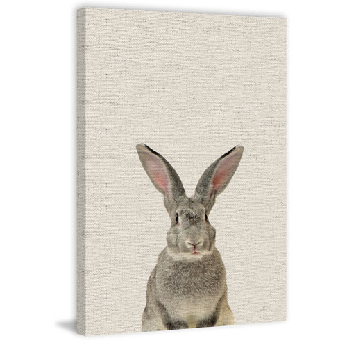 Gray Rabbit 36 x 24 In. Painting Print on Wrapped Canvas