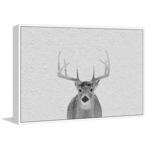 Marmont Hill Serious Deer Floater 12 x 18 In. Framed Painting Print on Canvas