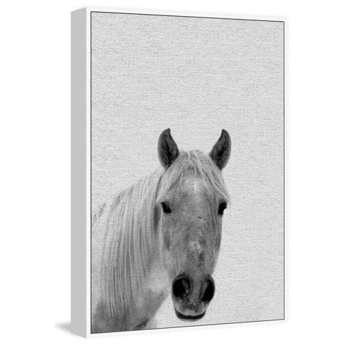 Marmont Hill Big-Nosed Horse Floater 45 x 30 In. Framed Painting Print on Canvas