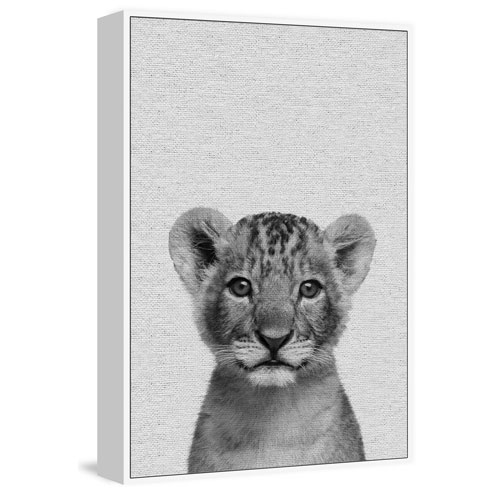 Marmont Hill Smiling Cub Floater 45 x 30 In. Framed Painting Print on Canvas
