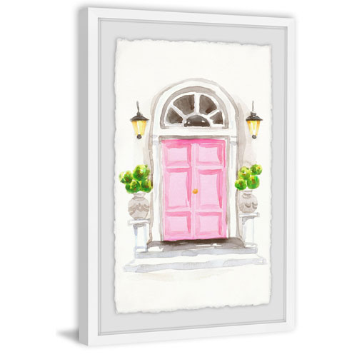 Marmont Hill Big Pink Door 24 x 16 In. Framed Painting Print