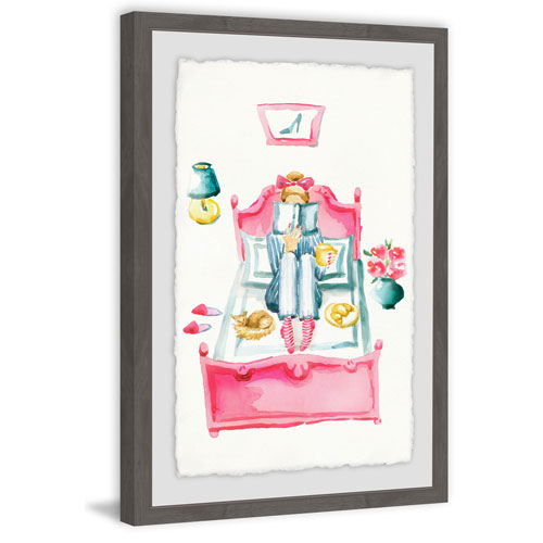 Marmont Hill Pink Bed Reading 36 x 24 In. Framed Painting Print