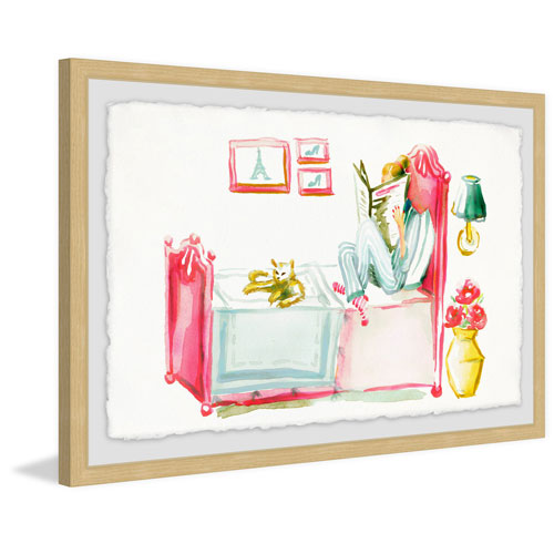 Marmont Hill Reading with the Cat 12 x 18 In. Framed Painting Print