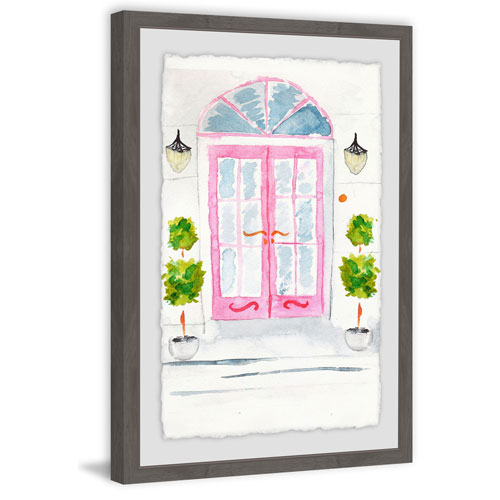 Marmont Hill Pink French Doors 36 x 24 In. Framed Painting Print