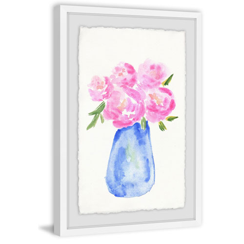 Marmont Hill Pink Flowers Blue Vase 18 x 12 In. Framed Painting Print