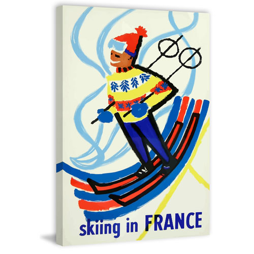 Marmont Hill Skiing in France 30 x 20 In. Painting Print on Wrapped Canvas