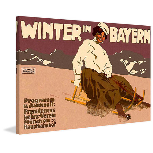 Marmont Hill Winter in Bayern 24 x 36 In. Painting Print on Wrapped Canvas