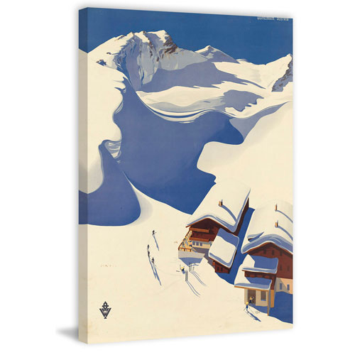 Marmont Hill Snowy Chalet 60 x 40 In. Painting Print on Wrapped Canvas