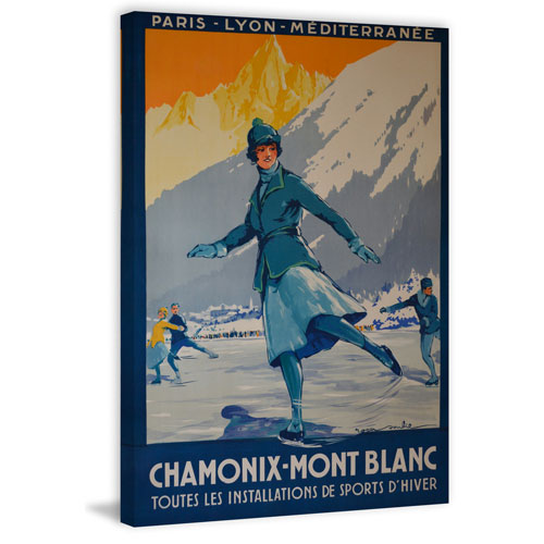 Marmont Hill Chamonix Mont Blanc 45 x 30 In. Painting Print on Wrapped Canvas