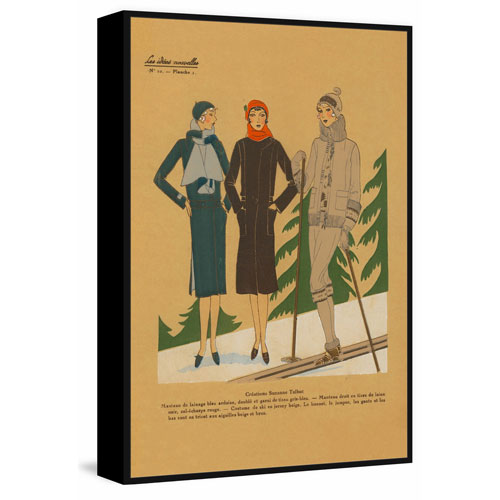 Marmont Hill Ladies Skiing Floater 24 x 16 In. Framed Painting Print on Canvas