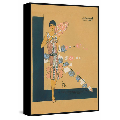 Pink Fashion Floater 60 x 40 In. Framed Painting Print on Canvas
