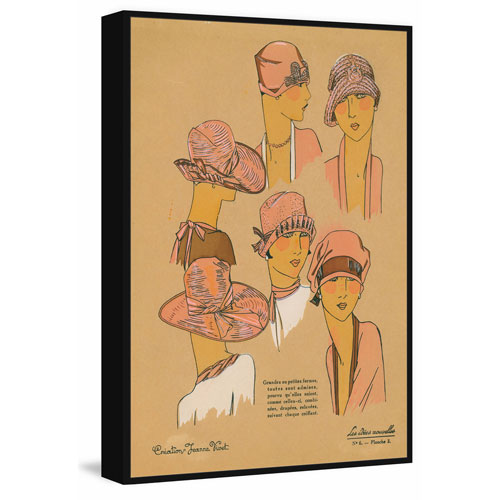 Marmont Hill Pink Hats Floater 45 x 30 In. Framed Painting Print on Canvas