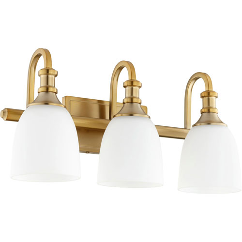 Milton Aged Brass Three-Light Bath Vanity