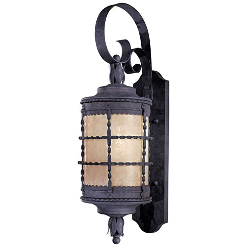 Kingswood Iron 29-Inch One-Light Fluorescent Outdoor Lantern Wall Sconce with French Scavo Glass