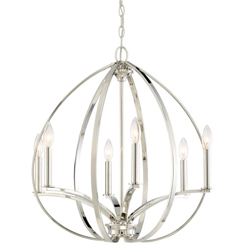 SilverSpring Polished Nickel Six-Light Chandelier