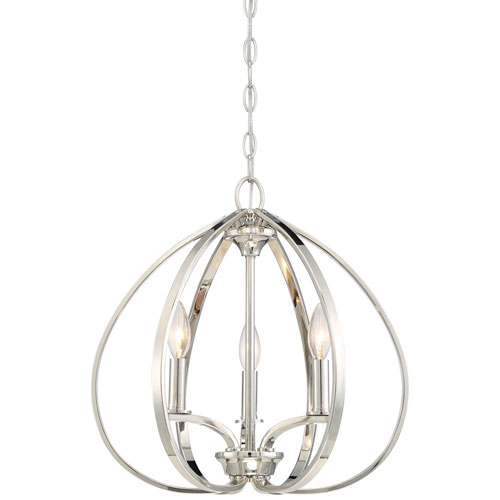 SilverSpring Polished Nickel Three-Light Chandelier