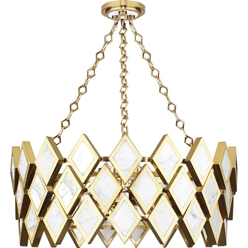 timeless design 2d2eb 5ab06 Boleyn Brass and White Marble Four-Light Chandelier