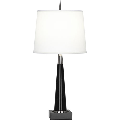 Brooklands Polished Nickel and Black Marble One-Light Table Lamp