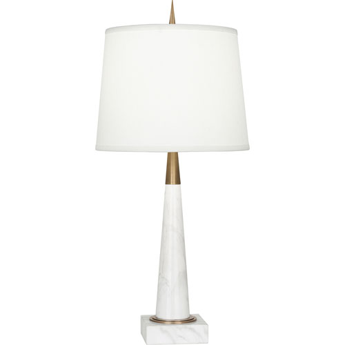 Brooklands Warm Brass and White Marble One-Light Table Lamp