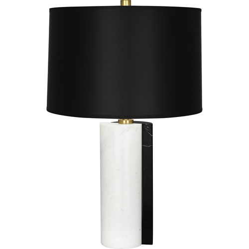 Drummond Black Marble and Antique Brass One-Light Table Lamp with Black Shade