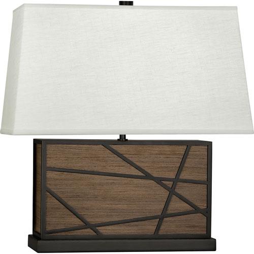 Jamison Walnut Wood and Deep Patina Bronze 20-Inch One-Light Table Lamp