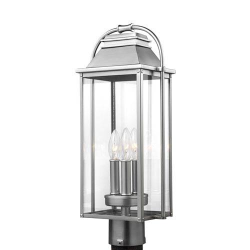 Buchanan Painted Brushed Steel Three-Light Outdoor Post Lantern