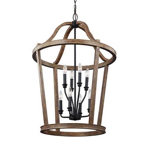 Canterbury Weathered Oak Wood Eight-Light Pendant