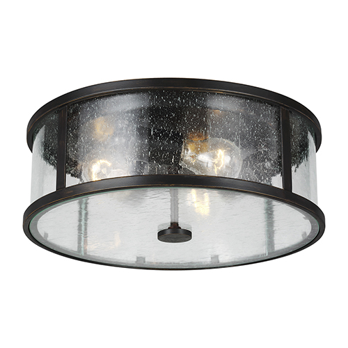 Derry Espresso Three-Light Flush Mount