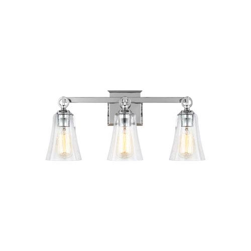 Hatfield Chrome 22-Inch Three-Light Wall Bath Fixture with Clear Seeded Glass