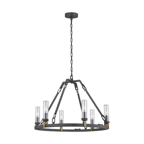 Heaton Antique Forged Iron Six-Light Outdoor Chandelier