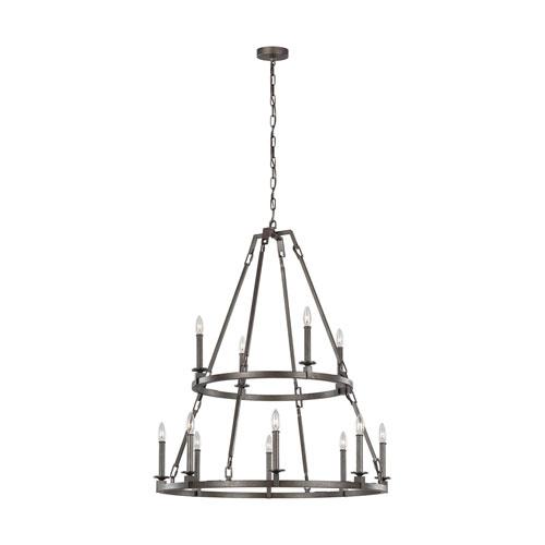 Heaton Steel 40-Inch 12-Light Chandelier