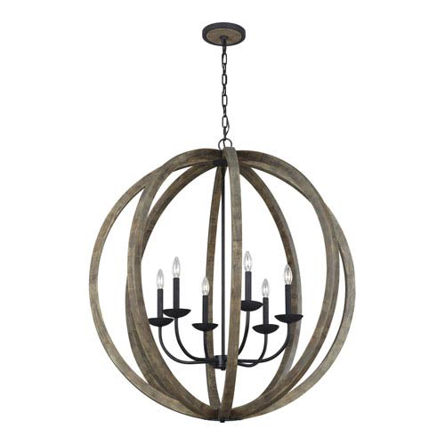Hyattstown Weathered Oak Wood 38-Inch Six-Light Chandelier