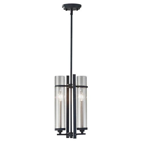Leicester Antique Forged Iron and Brushed Steel Two-Light Pendant