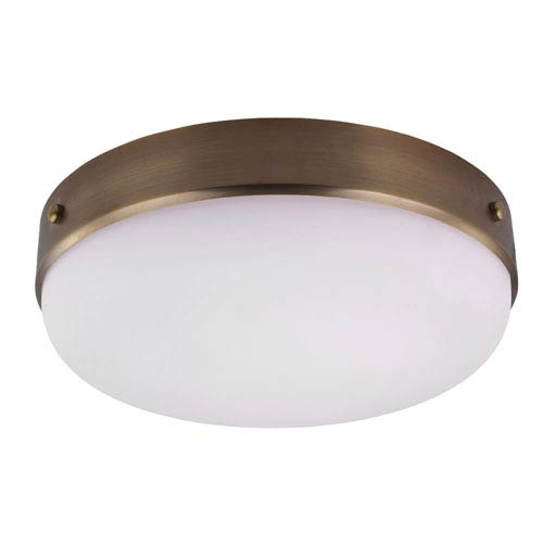 Sussex Brass Three-Light Indoor Flush Mount with White Opal Etched Glass