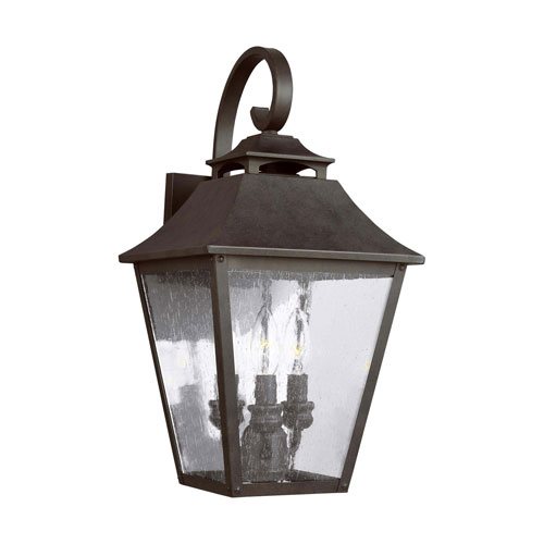Sutton Black Three-Light Outdoor Wall Lantern