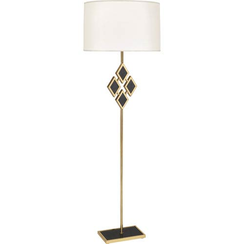 Hartfield Brass One-Light 62-Inch Black Marble Floor Lamp with White Shade