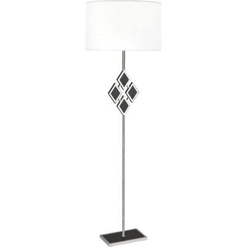 Hartfield Polished Nickel One-Light 62-Inch Black Marble Floor Lamp with White Shade