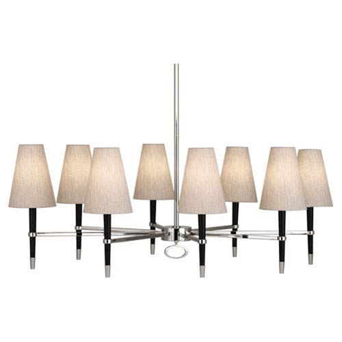 Albany Wood and Polished Nickel Eight-Light Chandelier