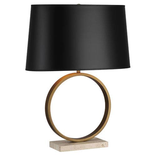 Delancey Aged Brass One-Light Table Lamp with Black Shade