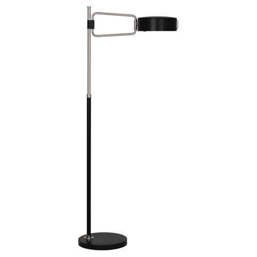 Brampton Satin Black and Polished Nickel One-Light Floor Lamp