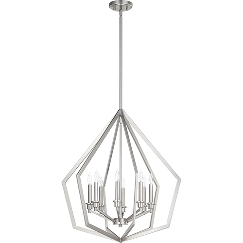 Acorn Satin Nickel Eight-Light Pendant
