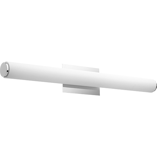 Avante Polished Nickel and Matte White Acrylic 35-Inch Two-Light LED Bath Bar