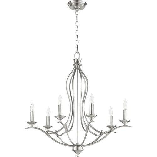 Creekside Satin Nickel 27-Inch Six-Light Chandelier