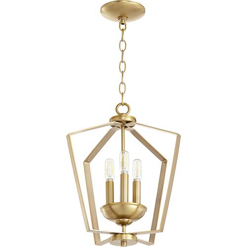 Greenfield Aged Brass Three-Light Pendant