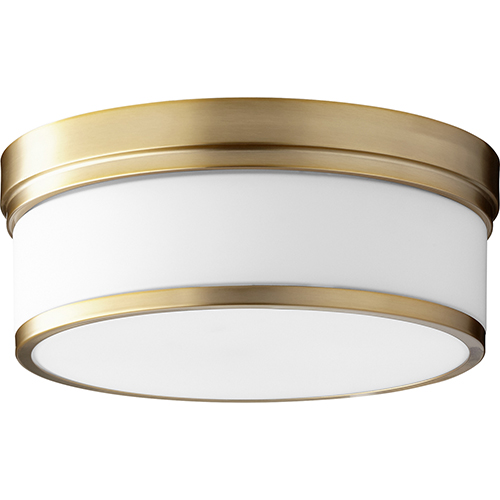 Kingsbury Aged Brass Three-Light Flush Mount
