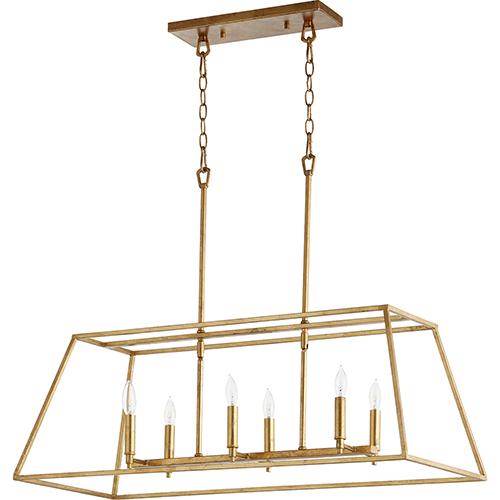 Windsor Gold Leaf 15-Inch Six-Light Pendant
